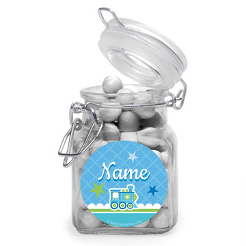 Welcome Baby Boy Personalized Glass Apothecary Jars (10 Count)