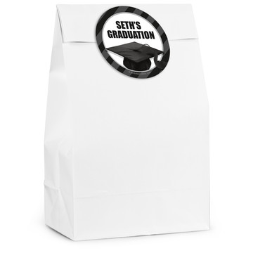White Caps Off Graduation Personalized Favor Bag (12 Pack)