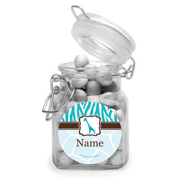 Wild Safari Blue Personalized Glass Apothecary Jars (10 Count)