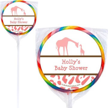 Wild Safari Pink Personalized Lollipops (12 Pack)