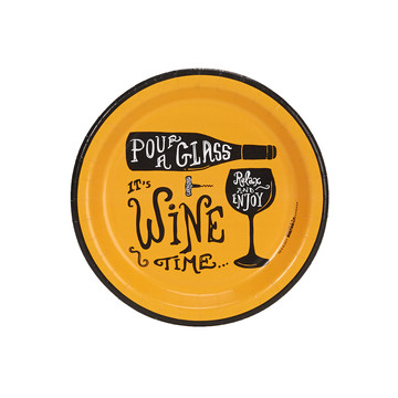 Wine Time Party Gold Cocktail Plates (8)
