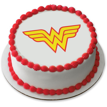 "Wonder Woman 7.5"" Round Edible Cake Topper (Each)"