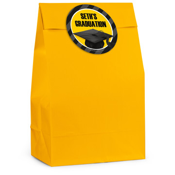 Yellow Caps Off Graduation Personalized Favor Bag (12 Pack)