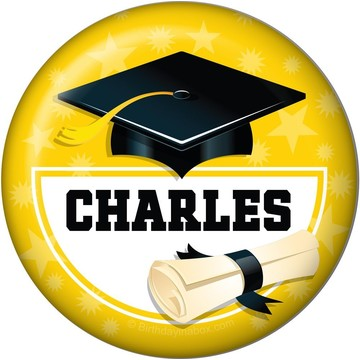Yellow Grad Personalized Button (Each)