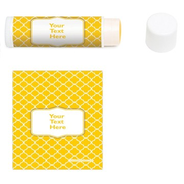 Yellow Quatrefoil Personalized Lip Balm (12 Pack)