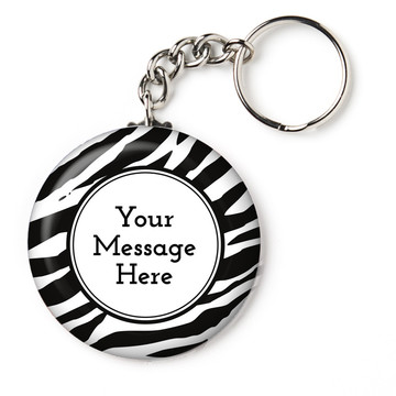 "Zebra Animal Print Personalized 2.25"" Key Chain (Each)"
