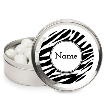 Zebra Animal Print Personalized Mint Tins (12 Pack)